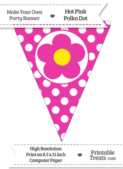 Hot Pink Polka Dot Pennant Flag with Flower from PrintableTreats.com