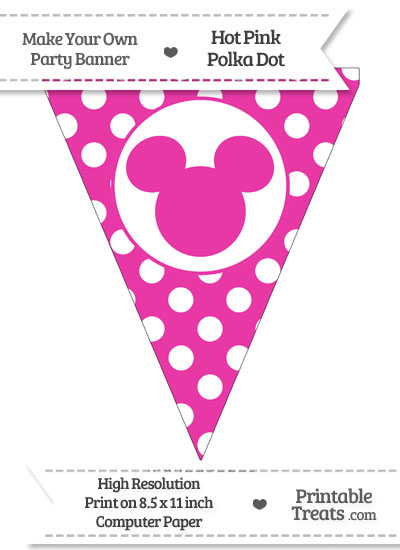 Hot Pink Polka Dot Pennant Flag with Mickey Mouse from PrintableTreats.com
