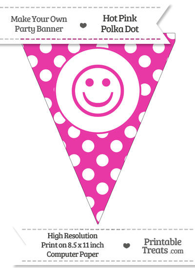 Hot Pink Polka Dot Pennant Flag with Smiley Face from PrintableTreats.com