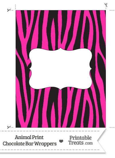 Hot Pink Zebra Print Chocolate Bar Wrappers from PrintableTreats.com