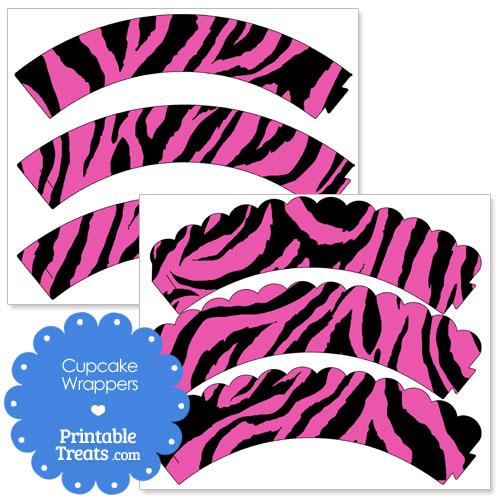 hot pink zebra print cupcake wrappers