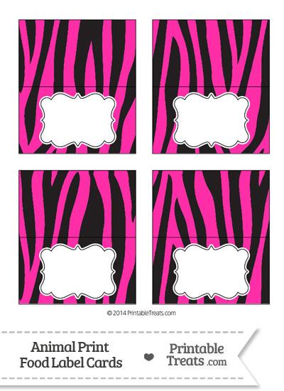 Hot Pink Zebra Print Food Labels from PrintableTreats.com