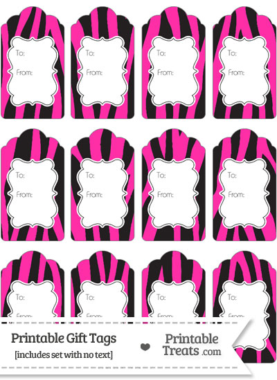 Hot Pink Zebra Print Gift Tags to Print from PrintableTreats.com