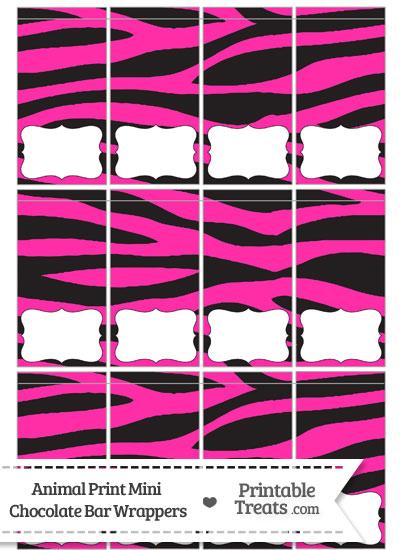 Hot Pink Zebra Print Mini Chocolate Bar Wrappers from PrintableTreats.com