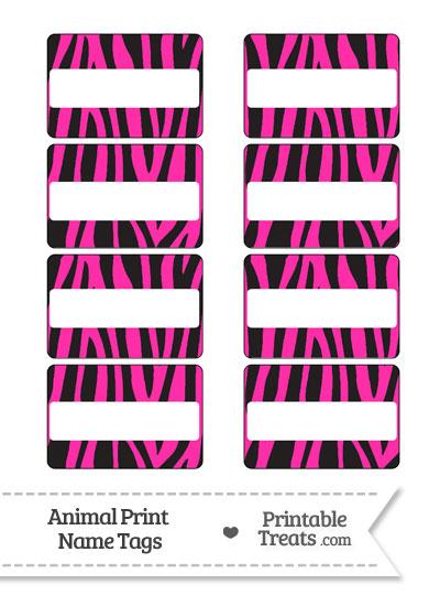 Hot Pink Zebra Print Name Tags from PrintableTreats.com