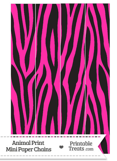 Hot Pink Zebra Print Paper Chains from PrintableTreats.com
