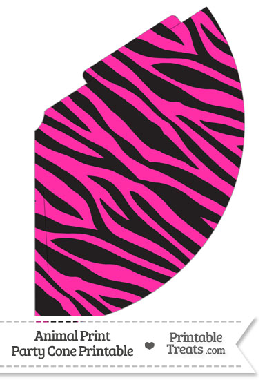 Hot Pink Zebra Print Party Cone from PrintableTreats.com