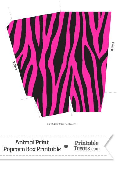 Hot Pink Zebra Print Popcorn Box from PrintableTreats.com