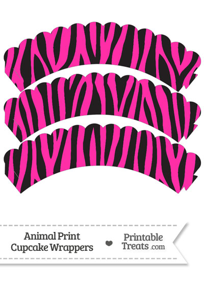Hot Pink Zebra Print Scalloped Cupcake Wrappers from PrintableTreats.com
