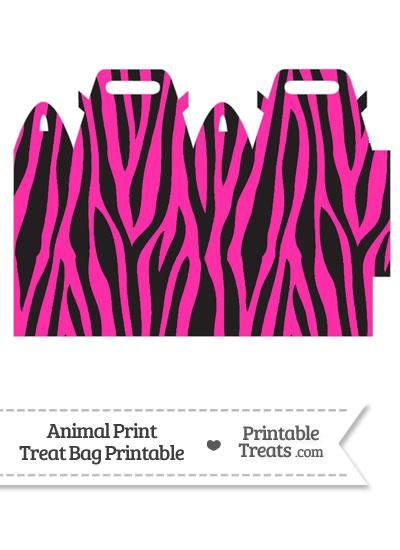 Hot Pink Zebra Print Treat Bag from PrintableTreats.com