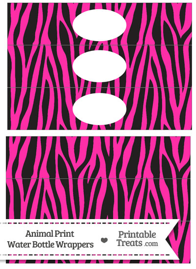 Hot Pink Zebra Print Water Bottle Wrappers from PrintableTreats.com