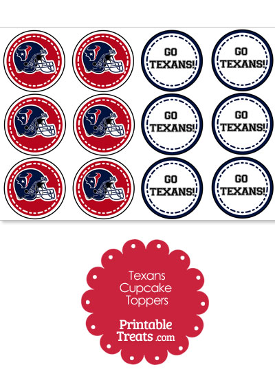 Houston Texans Cupcake Toppers from PrintableTreats.com