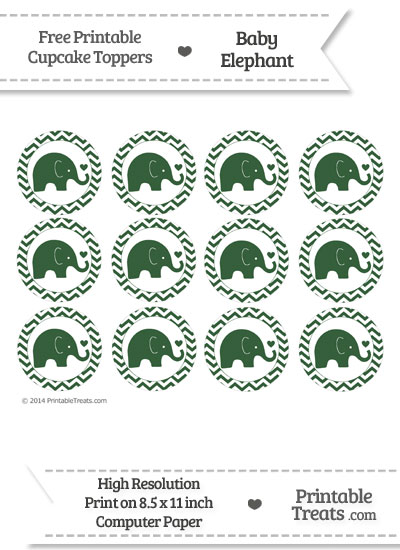 Hunter Green Baby Elephant Chevron Cupcake Toppers from PrintableTreats.com