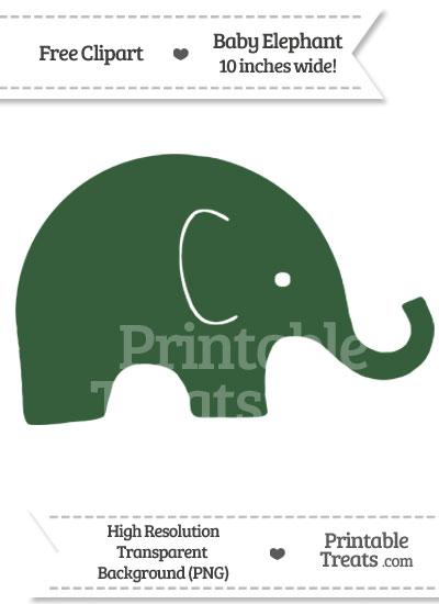 Hunter Green Baby Elephant Clipart from PrintableTreats.com