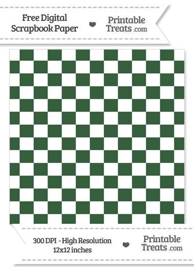Hunter Green Checkered Pattern Digital Paper from PrintableTreats.com