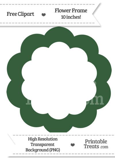 Hunter Green Flower Frame Clipart from PrintableTreats.com
