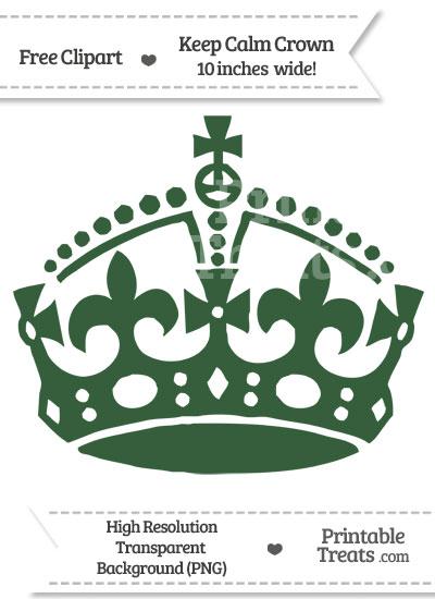 Hunter Green Keep Calm Crown Clipart from PrintableTreats.com