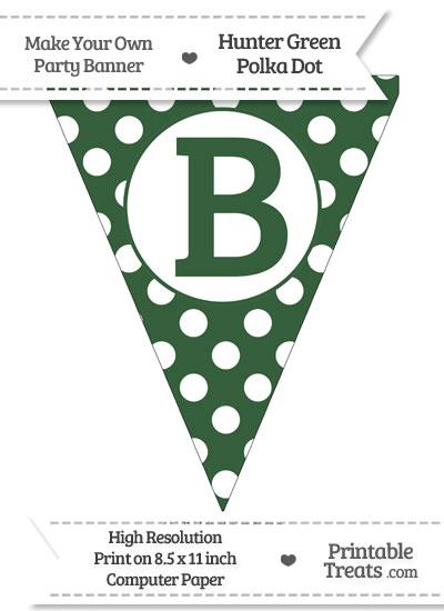 Hunter Green Polka Dot Pennant Flag Capital Letter B from PrintableTreats.com