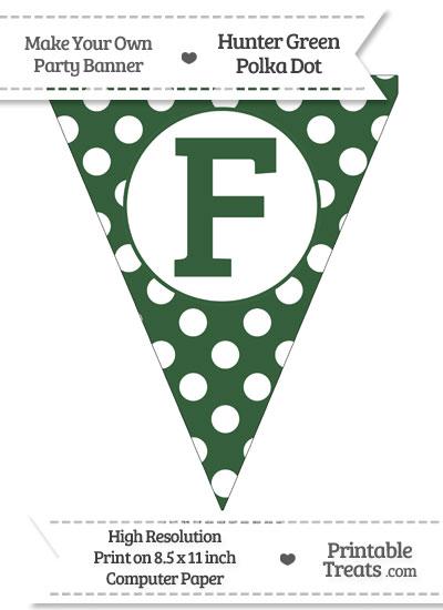 Hunter Green Polka Dot Pennant Flag Capital Letter F from PrintableTreats.com