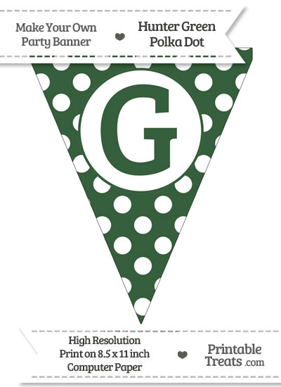 Hunter Green Polka Dot Pennant Flag Capital Letter G from PrintableTreats.com