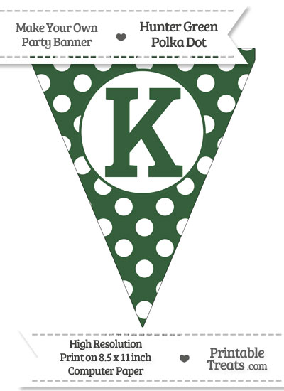 Hunter Green Polka Dot Pennant Flag Capital Letter K from PrintableTreats.com