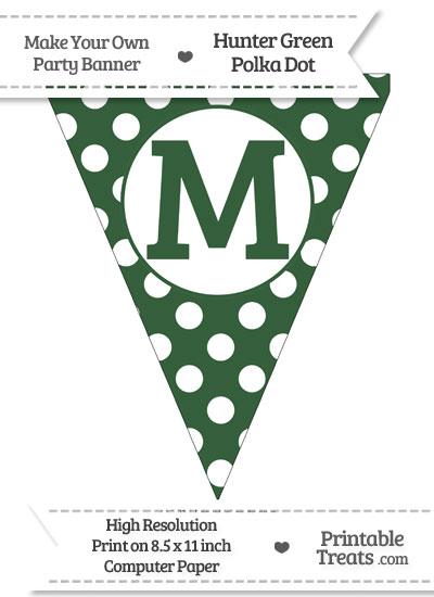 Hunter Green Polka Dot Pennant Flag Capital Letter M from PrintableTreats.com