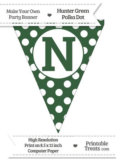 Hunter Green Polka Dot Pennant Flag Capital Letter N from PrintableTreats.com