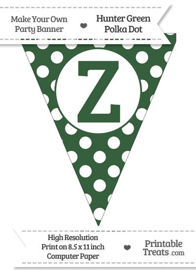 Hunter Green Polka Dot Pennant Flag Capital Letter Z from PrintableTreats.com