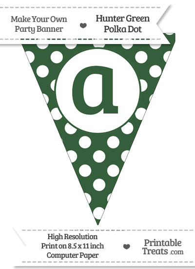 Hunter Green Polka Dot Pennant Flag Lowercase Letter A from PrintableTreats.com