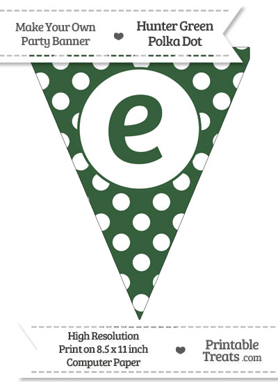 Hunter Green Polka Dot Pennant Flag Lowercase Letter E from PrintableTreats.com