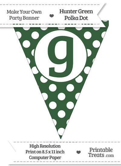 Hunter Green Polka Dot Pennant Flag Lowercase Letter G from PrintableTreats.com