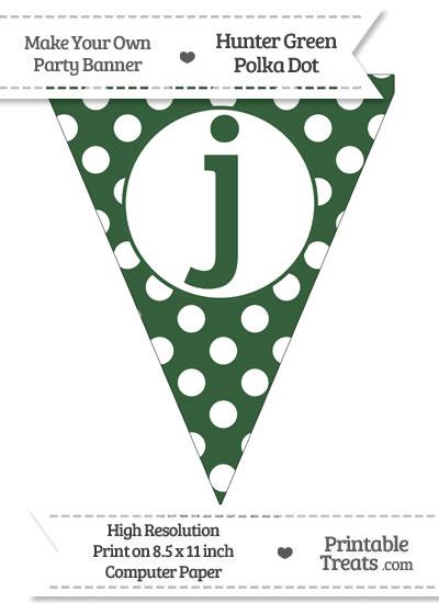 Hunter Green Polka Dot Pennant Flag Lowercase Letter J from PrintableTreats.com