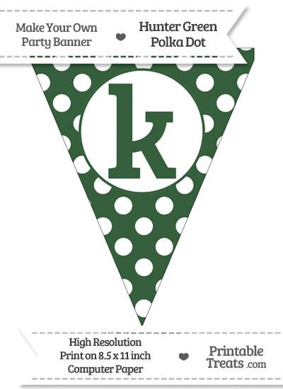 Hunter Green Polka Dot Pennant Flag Lowercase Letter K from PrintableTreats.com