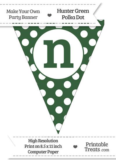 Hunter Green Polka Dot Pennant Flag Lowercase Letter N from PrintableTreats.com