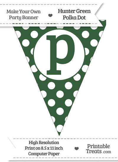 Hunter Green Polka Dot Pennant Flag Lowercase Letter P from PrintableTreats.com