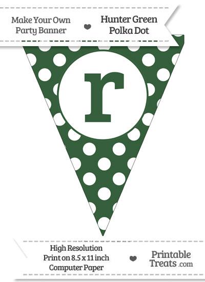 Hunter Green Polka Dot Pennant Flag Lowercase Letter R from PrintableTreats.com