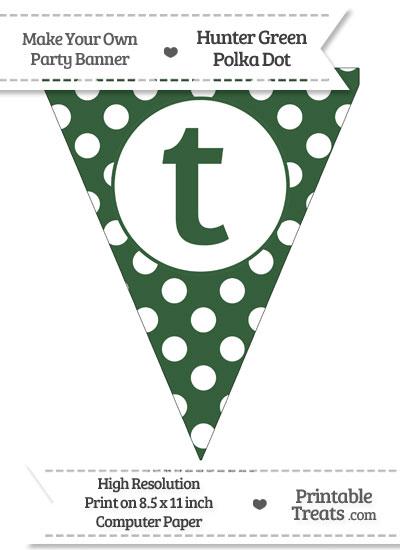 Hunter Green Polka Dot Pennant Flag Lowercase Letter T from PrintableTreats.com