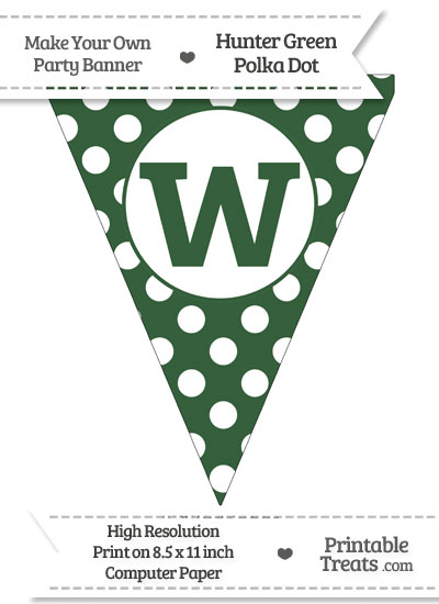 Hunter Green Polka Dot Pennant Flag Lowercase Letter W from PrintableTreats.com