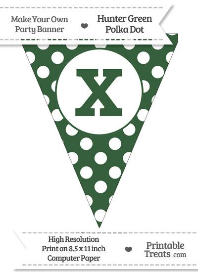 Hunter Green Polka Dot Pennant Flag Lowercase Letter X from PrintableTreats.com