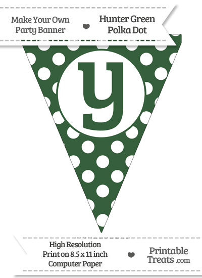 Hunter Green Polka Dot Pennant Flag Lowercase Letter Y from PrintableTreats.com