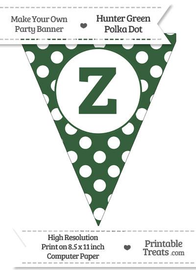 Hunter Green Polka Dot Pennant Flag Lowercase Letter Z from PrintableTreats.com