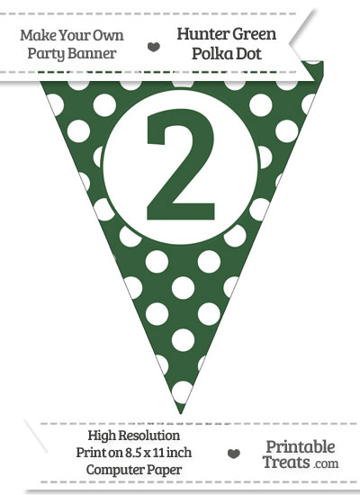 Hunter Green Polka Dot Pennant Flag Number 2 from PrintableTreats.com