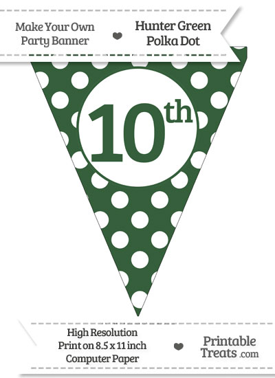 Hunter Green Polka Dot Pennant Flag Ordinal Number 10th from PrintableTreats.com