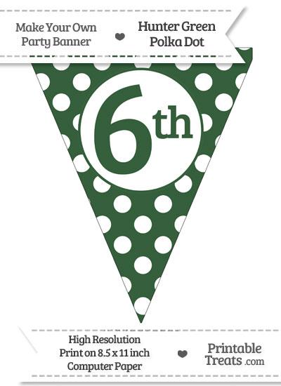Hunter Green Polka Dot Pennant Flag Ordinal Number 6th from PrintableTreats.com