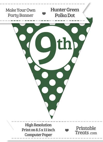 Hunter Green Polka Dot Pennant Flag Ordinal Number 9th from PrintableTreats.com