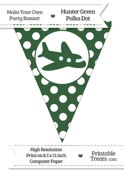 Hunter Green Polka Dot Pennant Flag with Airplane Facing Right from PrintableTreats.com