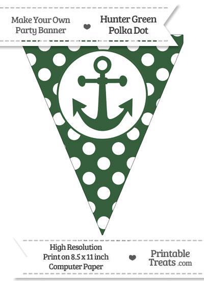 Hunter Green Polka Dot Pennant Flag with Anchor from PrintableTreats.com