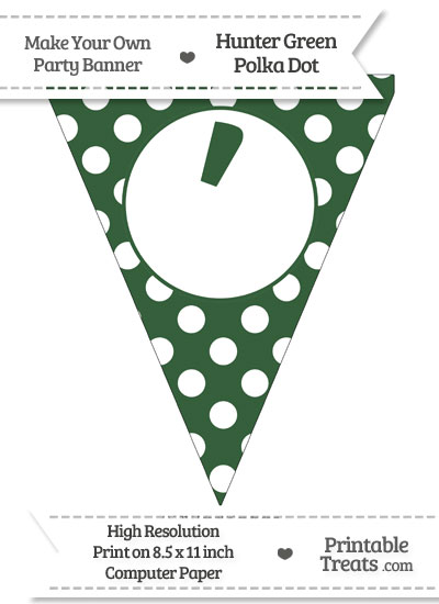 Hunter Green Polka Dot Pennant Flag with Apostrophe from PrintableTreats.com