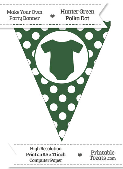 Hunter Green Polka Dot Pennant Flag with Baby Onesie from PrintableTreats.com