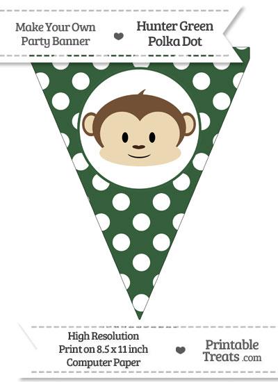 Hunter Green Polka Dot Pennant Flag with Boy Monkey from PrintableTreats.com